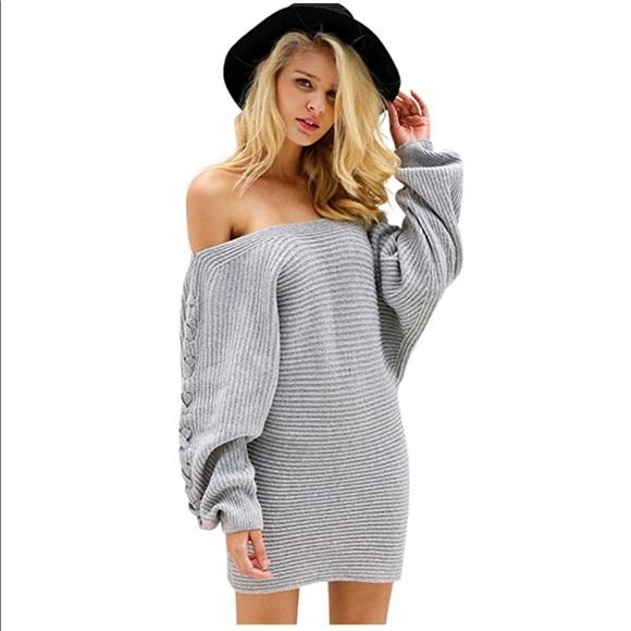 995ff4139ef women sexy off shoulder mini sweater dress